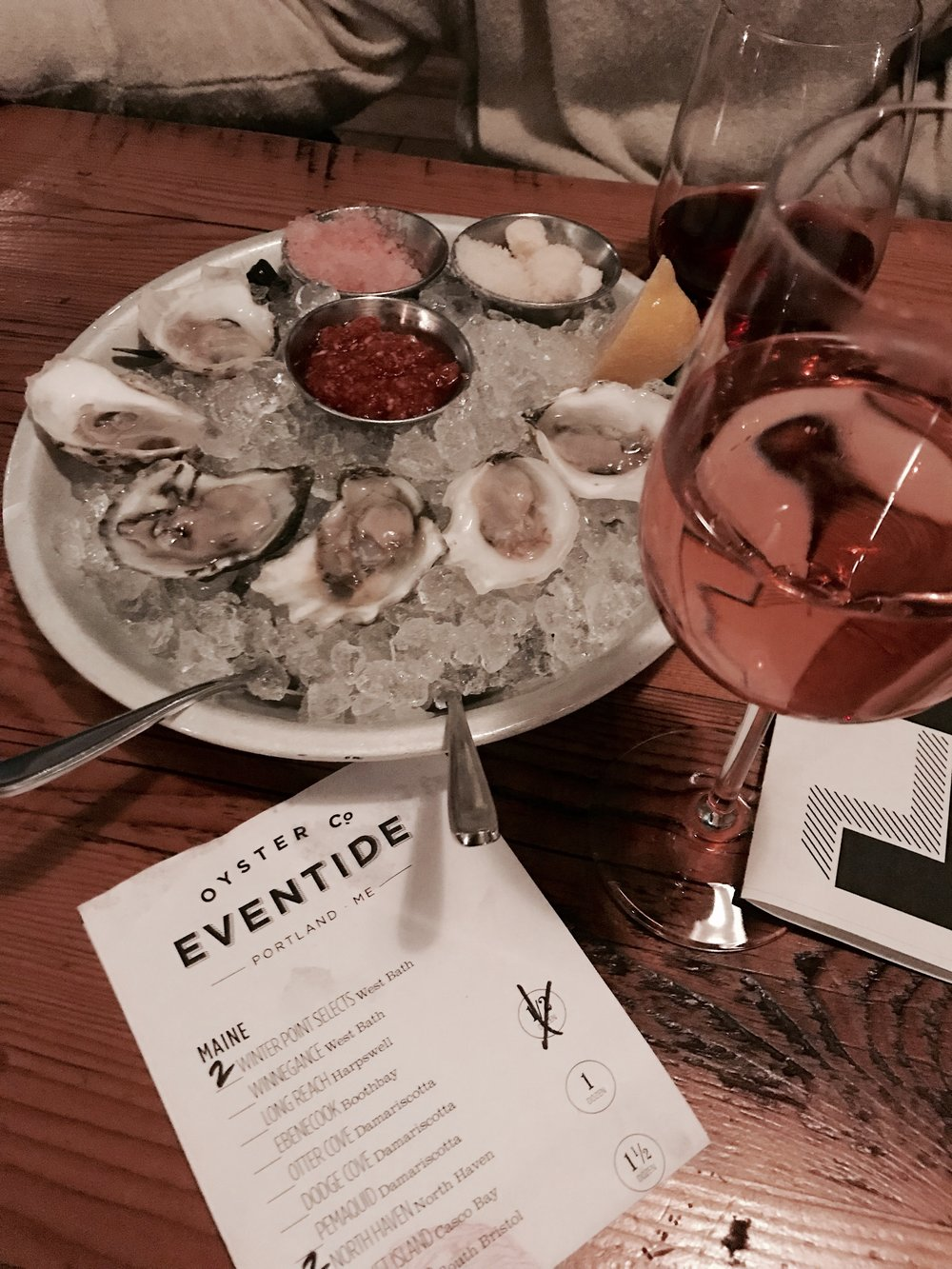 Ok...I lied...here is one photo from our dinner at Eventide! Oysters and sparkling rose...yes please!!!
