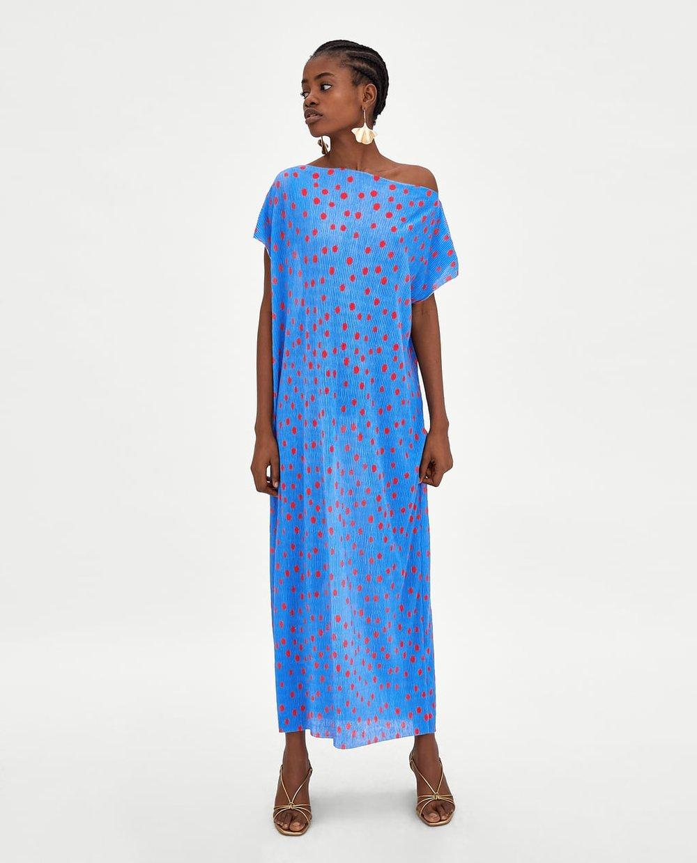Zara Pleated Polka Dot Dress.jpg