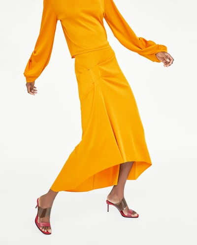 Zara Yellow Pleated Skirt.jpg