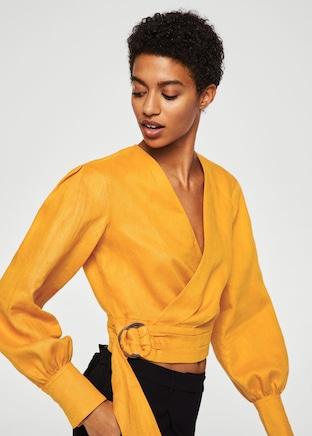 Mango Linen Wrap Top.jpg