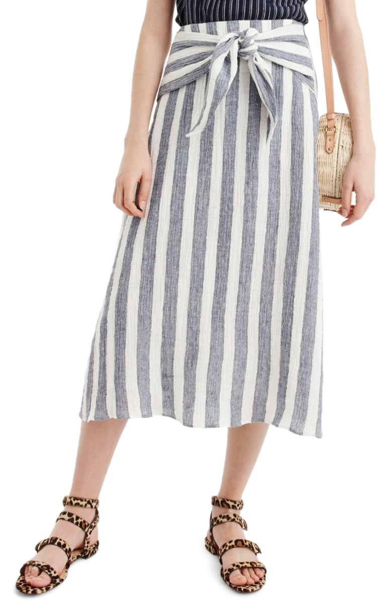J Crew Point Sur Nautical Stripe Ties Waist Linen Skirt.jpg