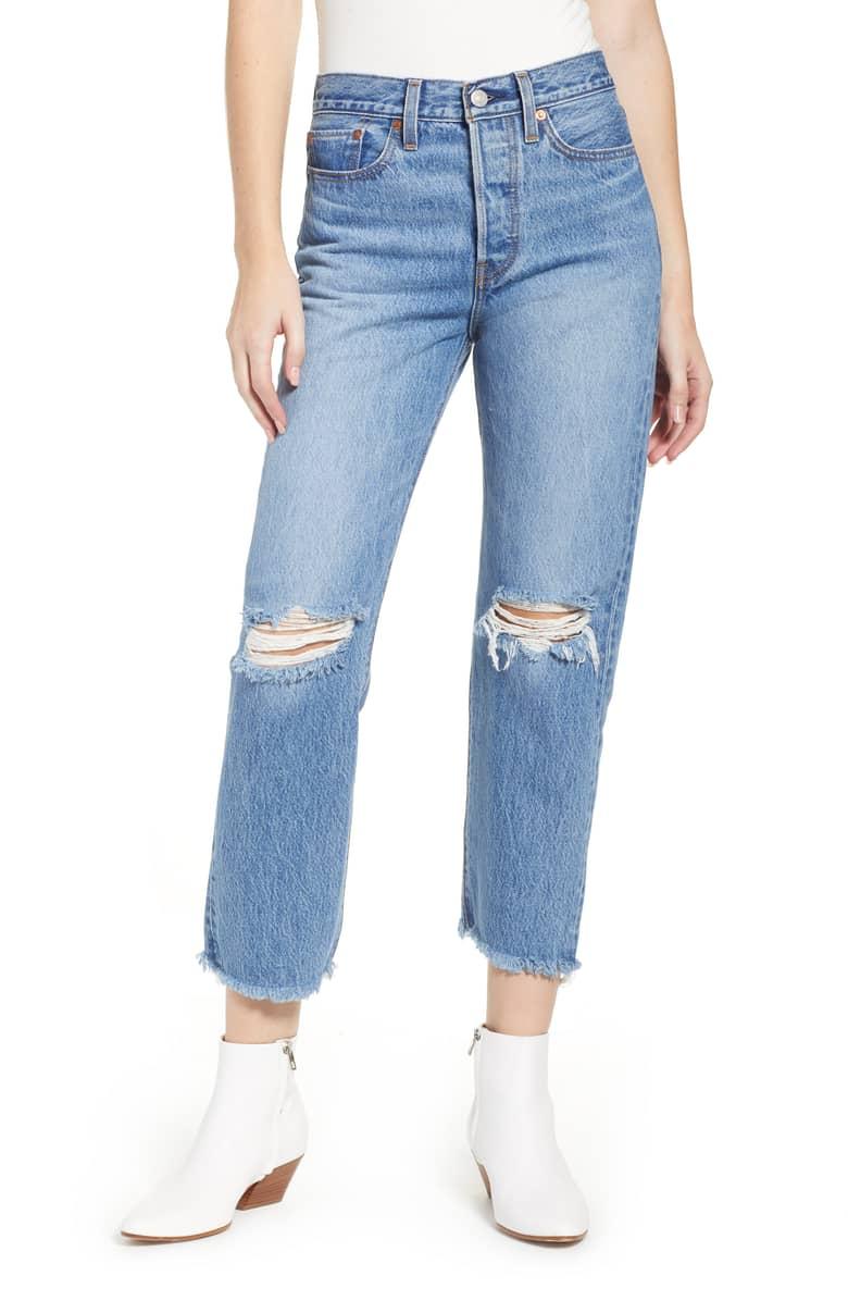 Levis Wedgie High Waist Ripped Crop Straight Leg Jeans .jpeg