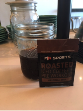 Trying MN Sports Iced Coffee+ Pre Workout with a cup of Cold brew to add extra energy and taste