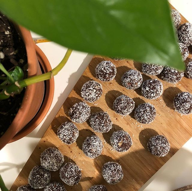 Raw Cacao Maca truffles 🧡 for tonight's @ambrosia_elixirs and @ecstaticdancenyc. Come dance with high vibrational food and elixirs 🧚🏿‍♀️