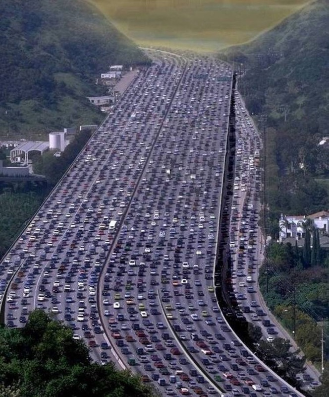The 405 on a typical day in LA traffic.