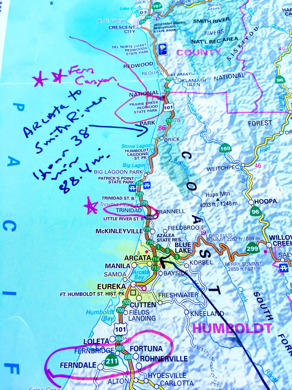 Map for road trip up the west coast starting in Malibu and ending in Portland