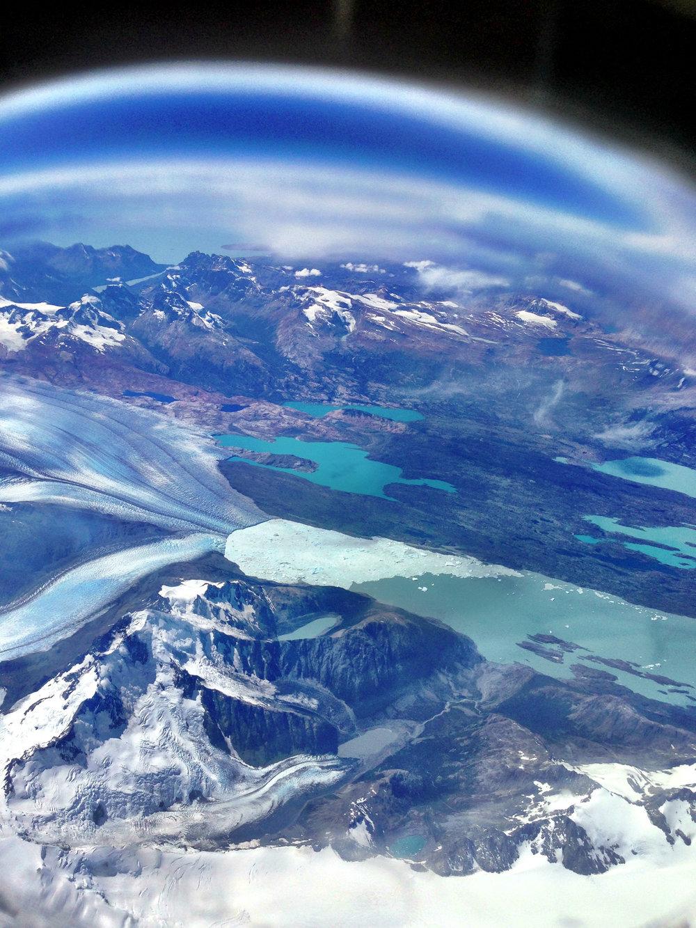 Aerial shot before landing Chilean Patagonia