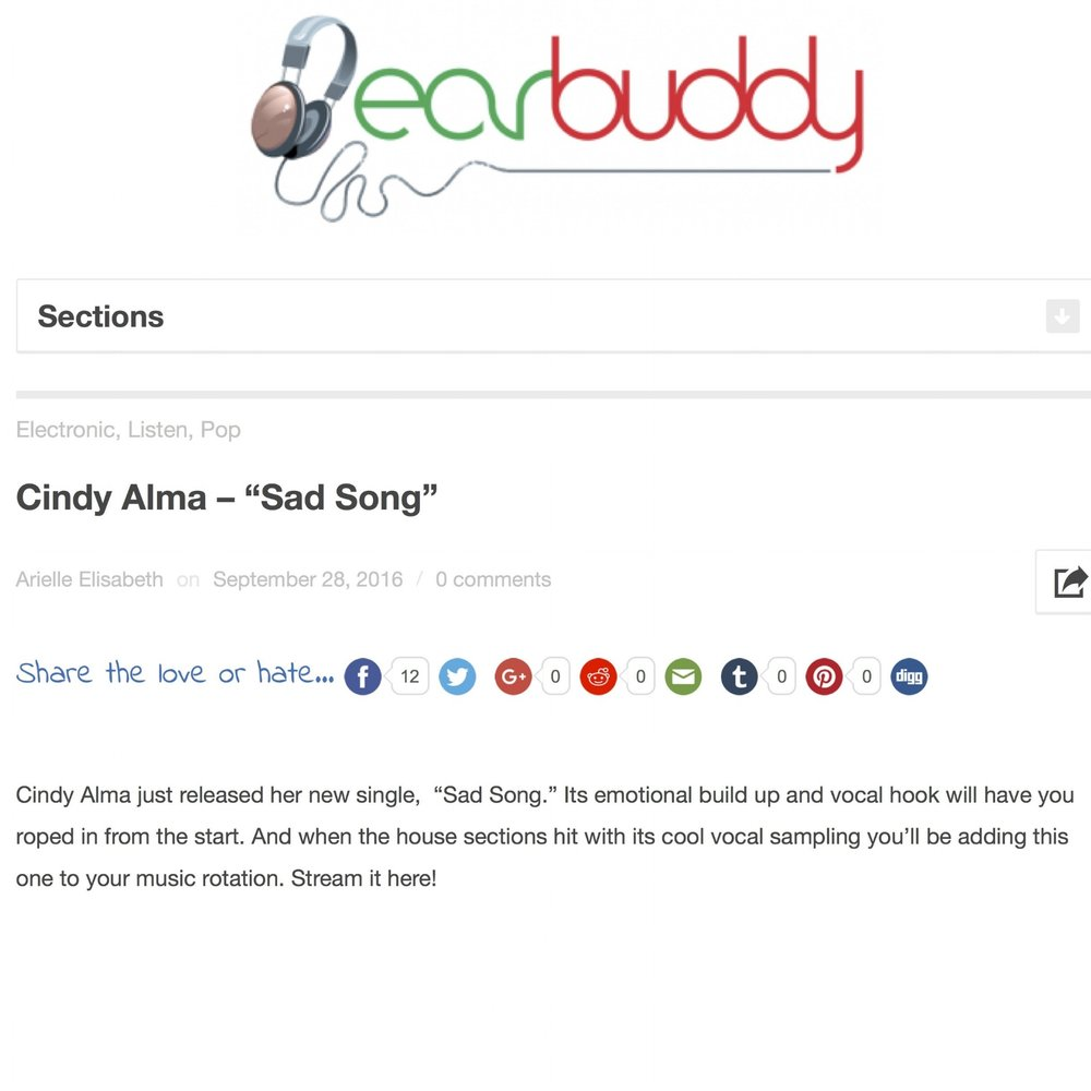 Cindy Alma - %22Sad Song%22 | Earbuddy .JPEG