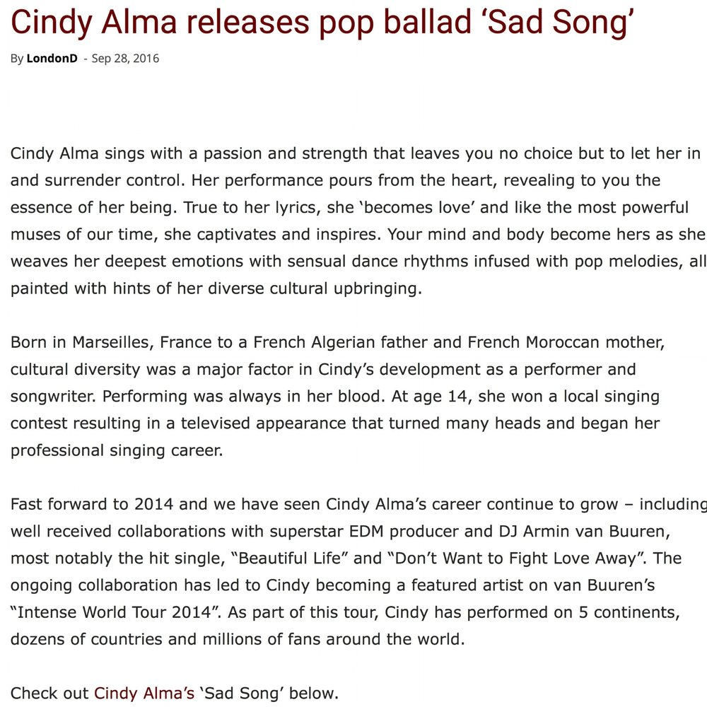 Cindy Alma releases pop ballad 'Sad Song' | The Maroon  Cafe JPEG .jpg