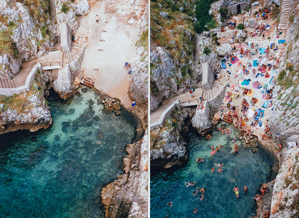 Il Ciolo, Puglia, Italy at 8AM and 11AM of the same crazy summer day // taken with a disposable camera