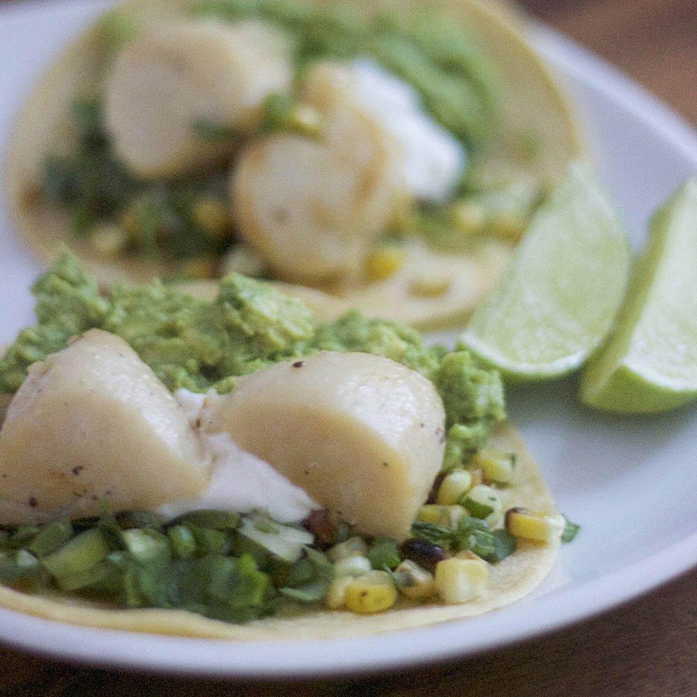 Scallop Tacos With Avocado Salsa