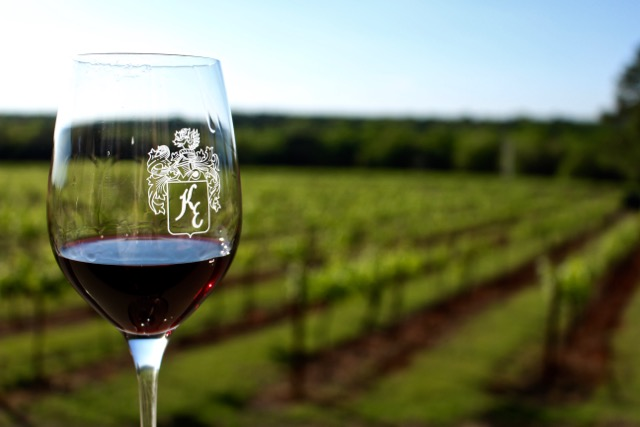 A perfect glass of Texas Syrah from the tasting room at Kiepersol Vineyards near Tyler, TX.
