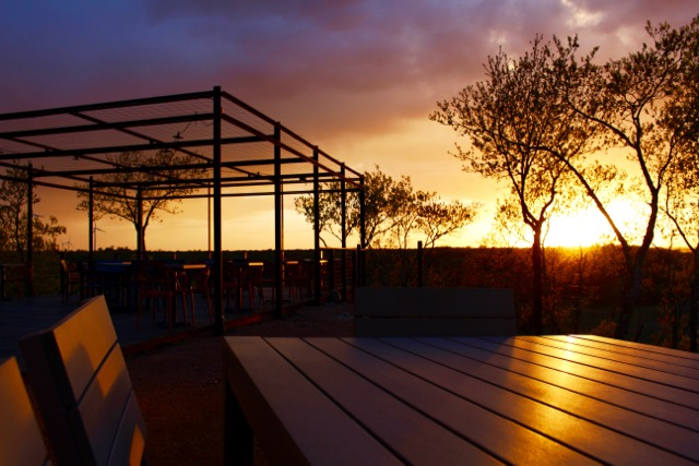 Picture yourself here. The sunset view outside the tasting room at 4R Ranch and Vineyards in Muenster, TX.
