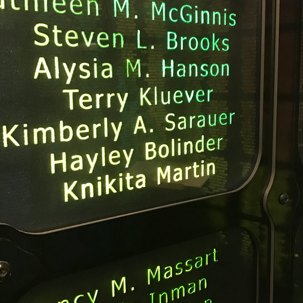 Hayley's name on the living donor wall at UW Hospital in Madison, WI.