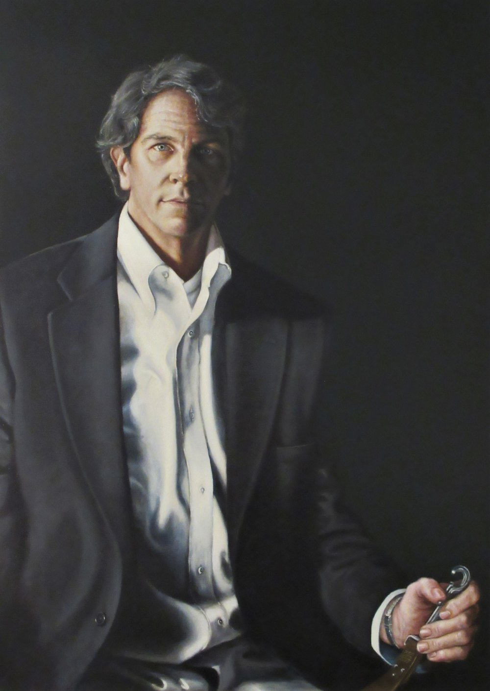Portrait of a Man and His Dog, 2016, oil on linen, 29 x 41""