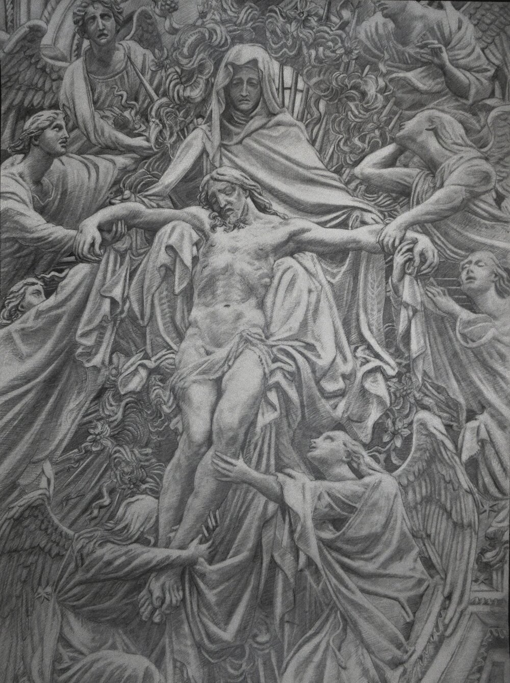 "Pieta Milano Duomo, pencil on paper, 22 x 30"". 2017"