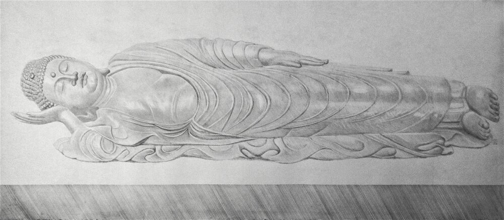 Reclining Buddha, 2017, pencil on paper, 55 x 24""