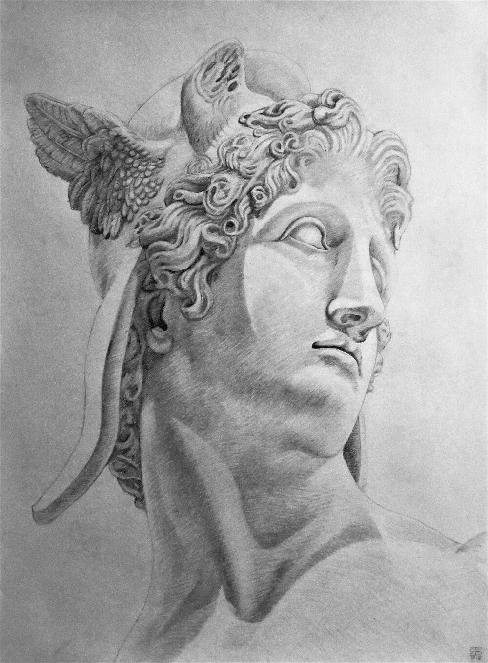 Canova 3, 2016, pencil on paper, 22 x 30""