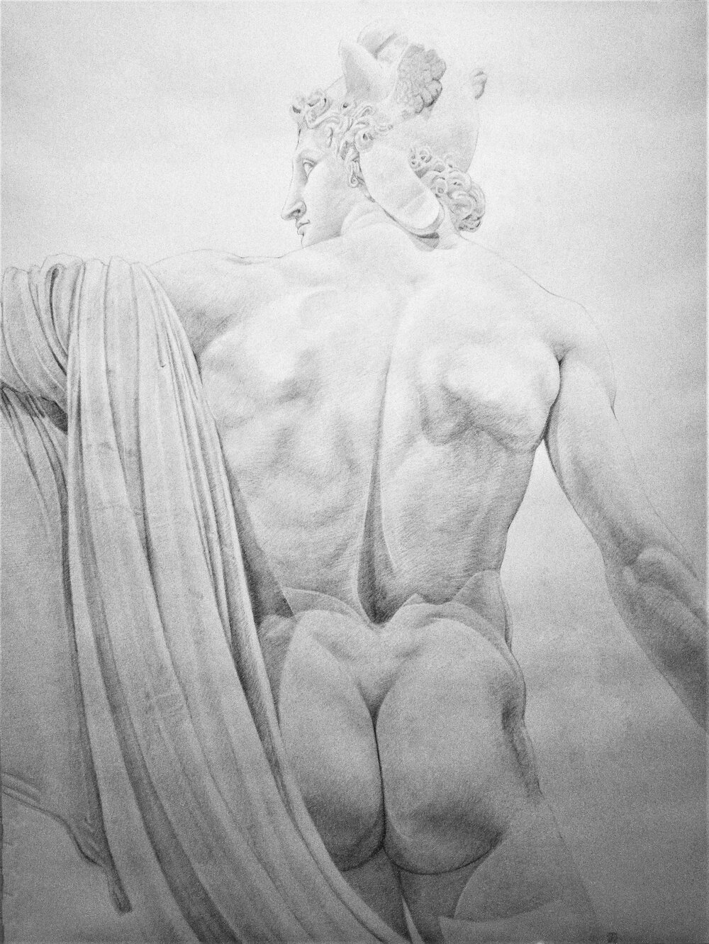 Canova 1, 2016, pencil on paper, 38 x 50""
