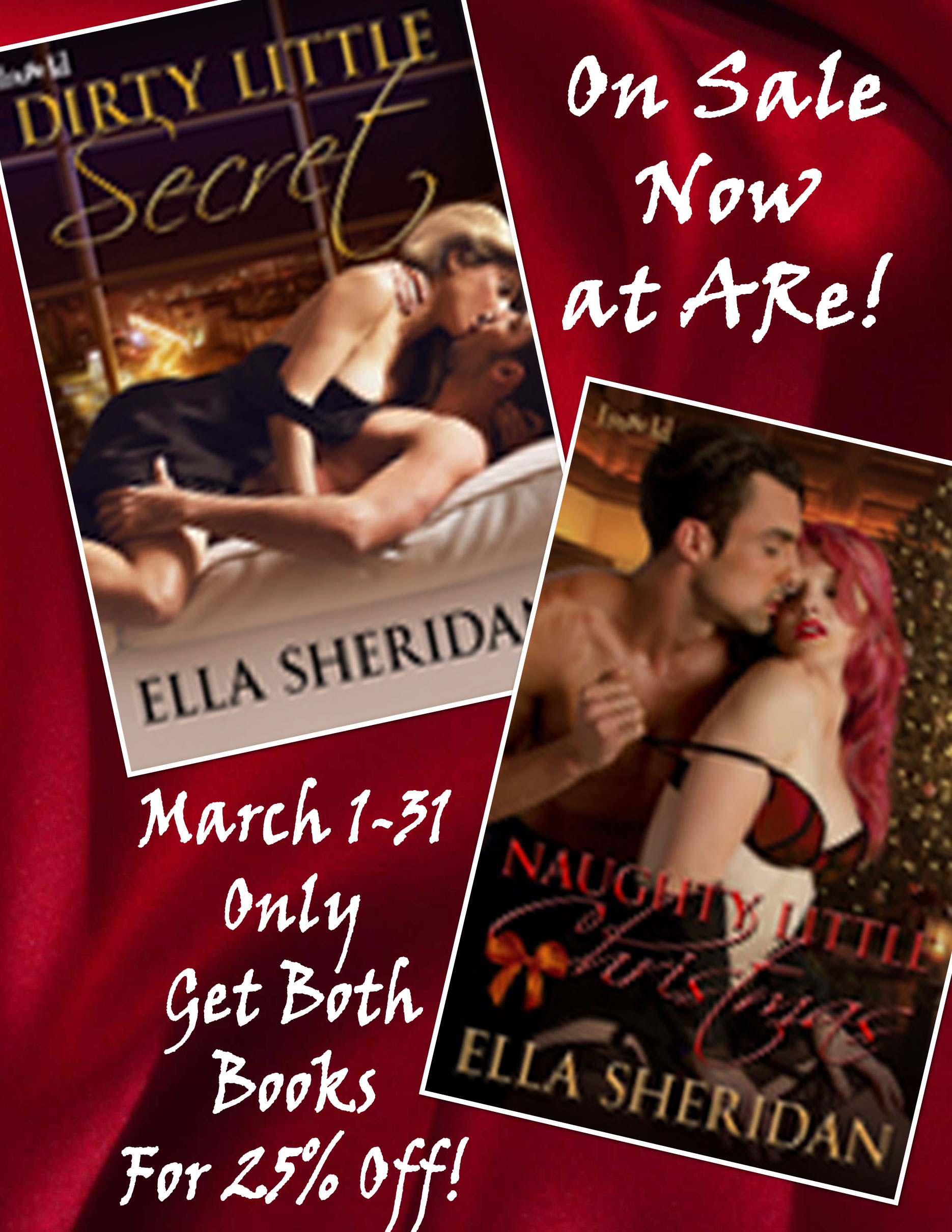 ella sheridan, romance, author, erotic romance, paranormal romance, naughty little christmas, dirty little secret, sale, book, ebook, ARe, All Romance Ebooks, Loose Id