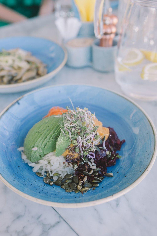 ....  Vegan taldrik   Bataadi hummus, peeditartar, avokaado, seemned, idud, Kongo talu hapukapsa salat seesamiõliga ja porgandi-koriandrisalat sidruni ja ingveriga   ..  Vegan plate  ....
