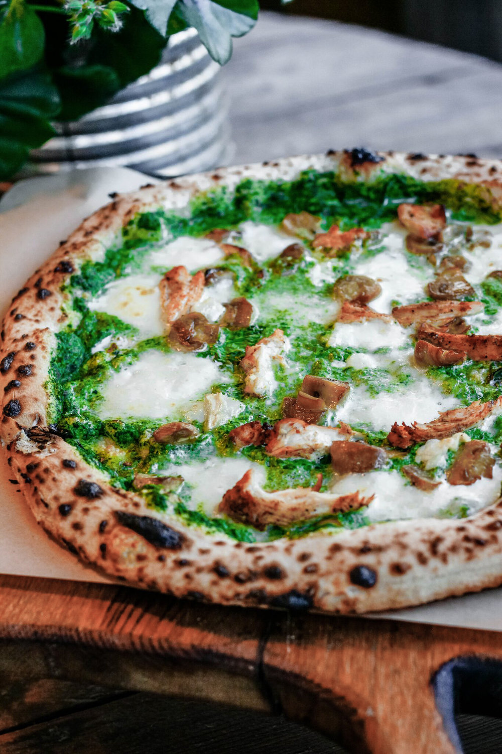 Pizza Verde 9€    Fior di latte cheese, ricotta cheese, goat cheese, spinach, grilled chicken, mushrooms   Again such a juicy pizza and goat cheese and chicken fitted together very well.