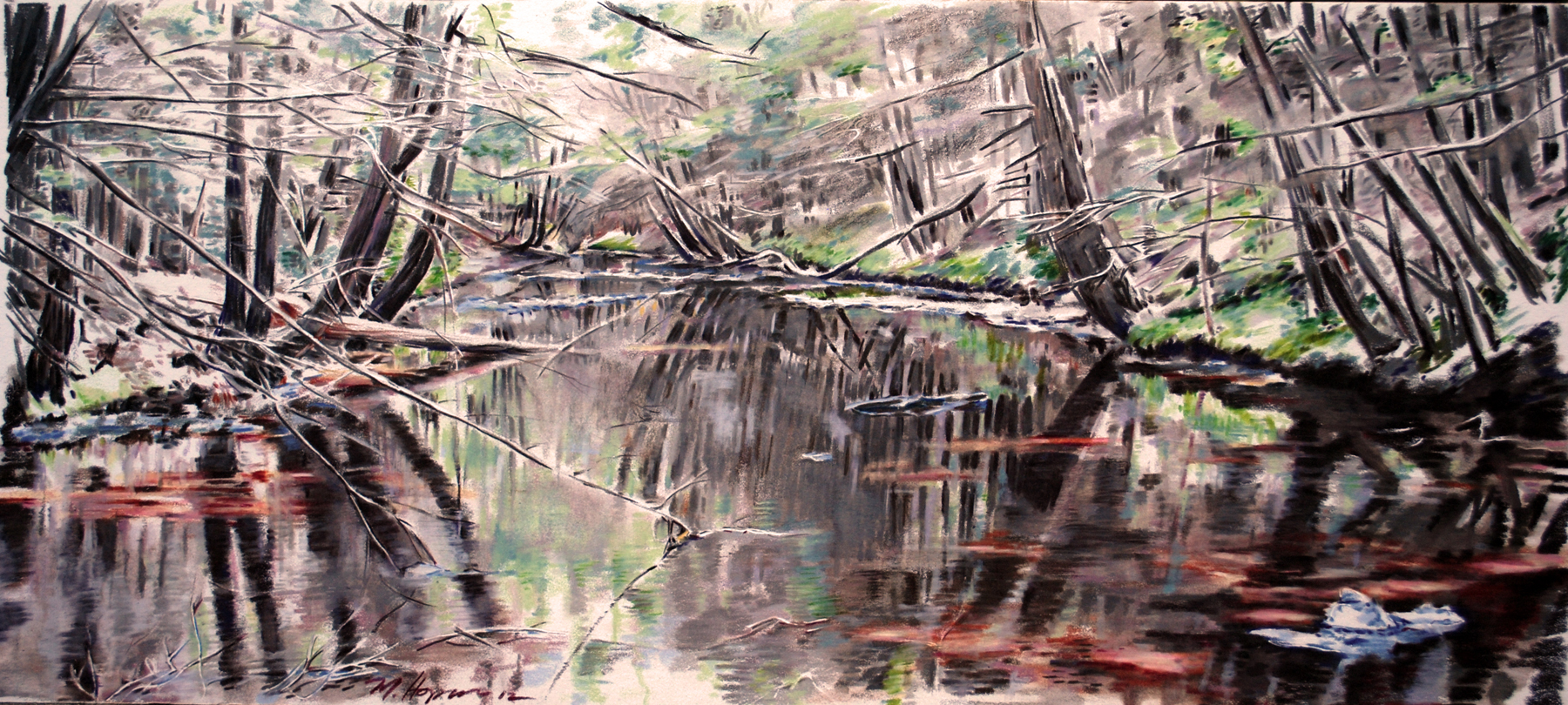 Creekscape in colored pencil