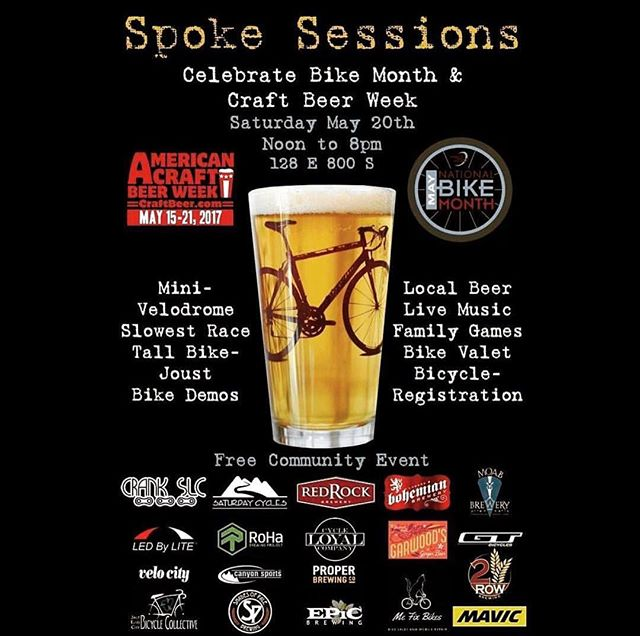 In celebration #americancraftbeerweek and #bikemonth join us for a FREE community event this Saturday (5/20) @crankslc from Noon- 8pm for loads of bikey fun including tall bike joust, mini- velodrome, free bicycle registration, family games, live music and the best of local craft beer.