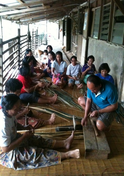 Craftmakers preparing rattan