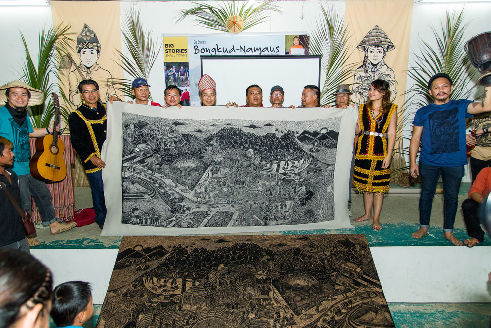 Pangrok Sulap reveal their master woodcut print comprising of stories of Kampung Bongkud. Picture by Jeremiah Sebastian