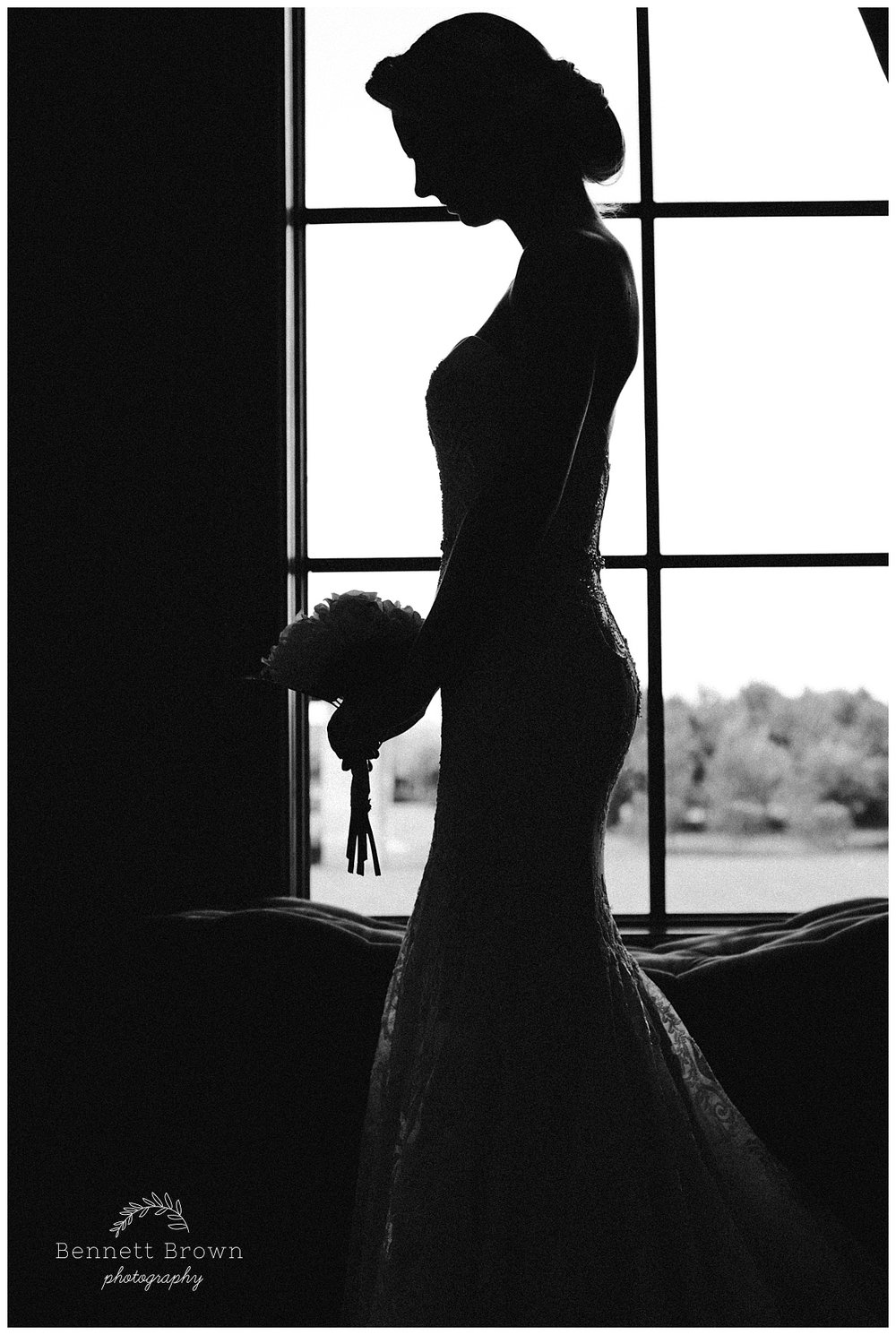 Silhouette Bennett Brown Photography Bridal Portraits gown beading