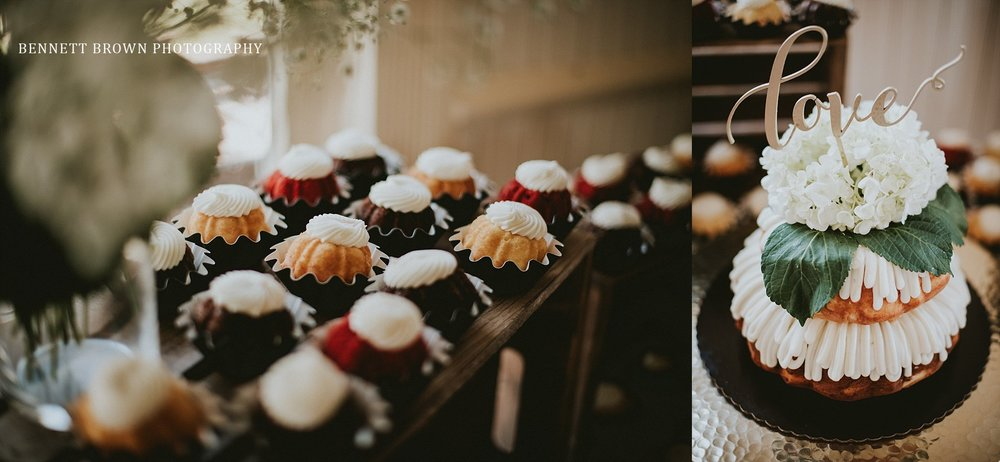 Bennett Brown Photography Wedding reception desert table cupcakes cake details
