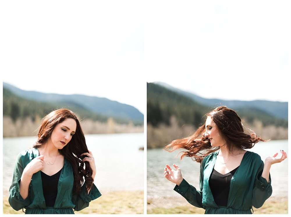Anueva jewelry Bennett Brown photography green dress lake mountains