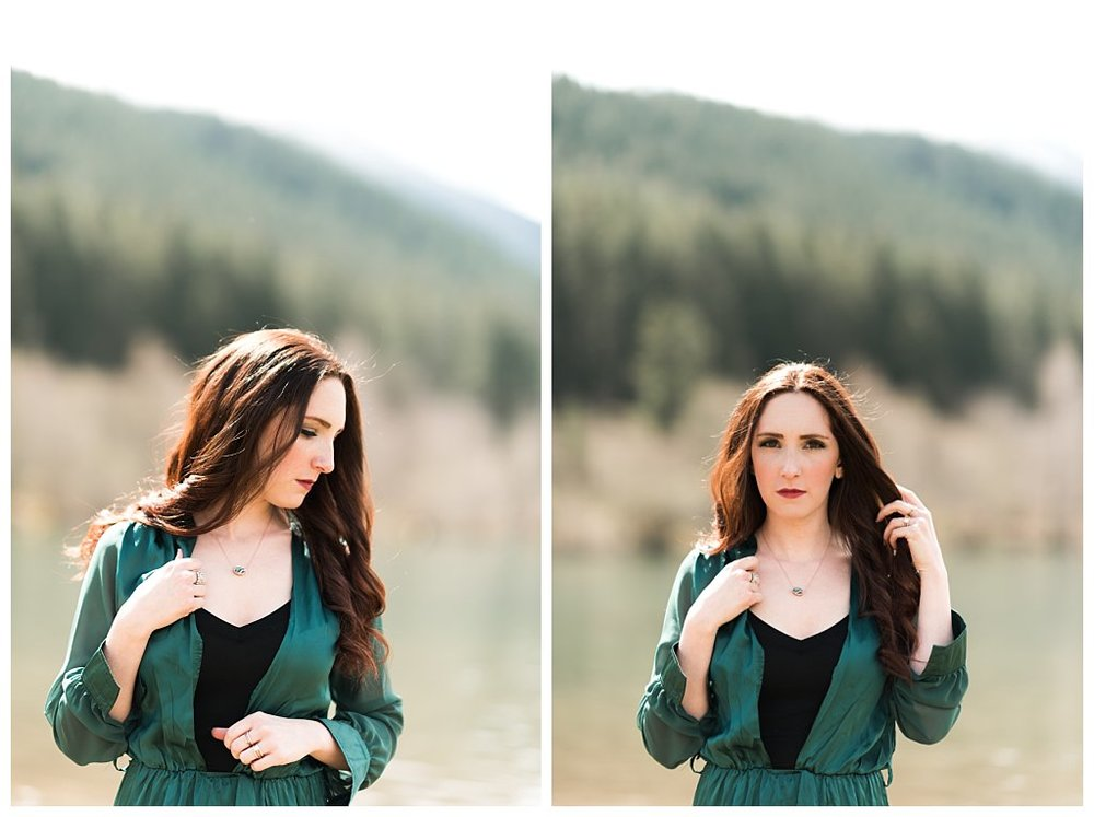 Anueva jewelry Bennett Brown photography green dress lake mountains Skirt landscape