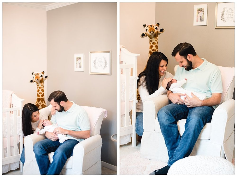 Bennett Brown Photography newborn photography family photo giraffe nursery Mother father baby