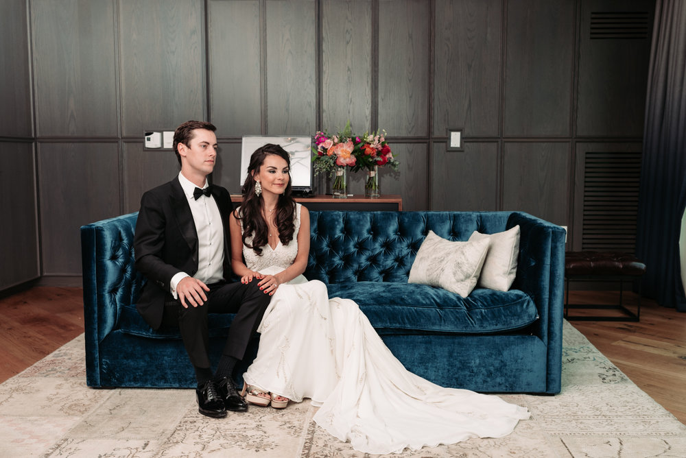 Wedding portrait bride groom wedding reveal gown tuxedo velvet