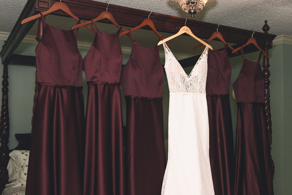 wedding gown white dress v-neck lace burgundy bride's maid's dresses