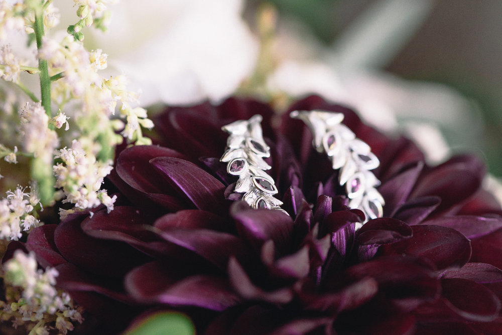 wedding earrings purple dahlias bouquet