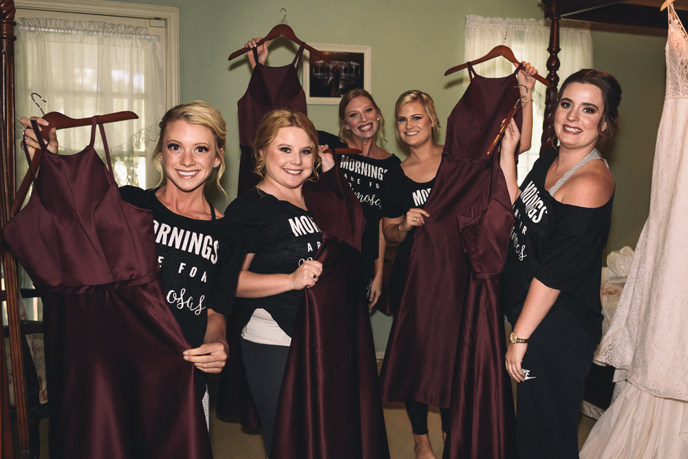 bride's maid's dresses burgundy friends happy mornings are for mimosas ashelynn manor