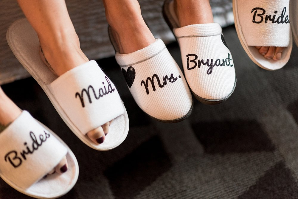 Bridesmaids bride wedding slippers wedding party