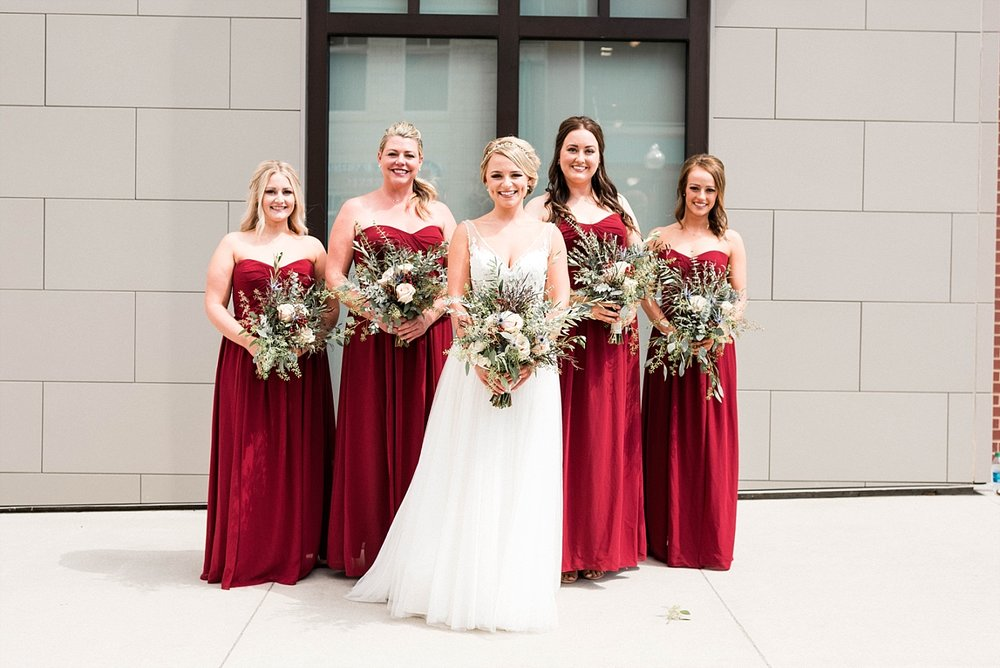 Bride bridal party gown tulle red bouquet