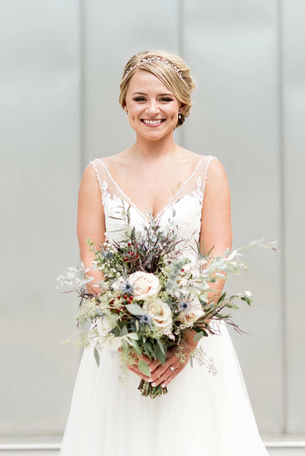 Bridal portrait wedding gown bouquet
