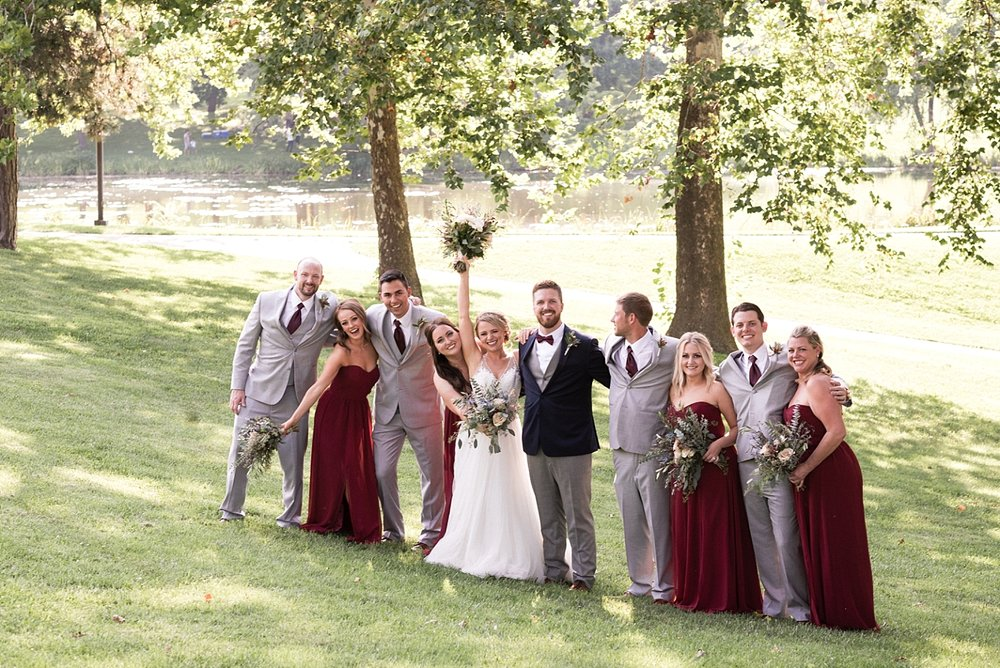 Bridal party wedding photography bride groom bridesmaids groomsmen outdoor bouquet
