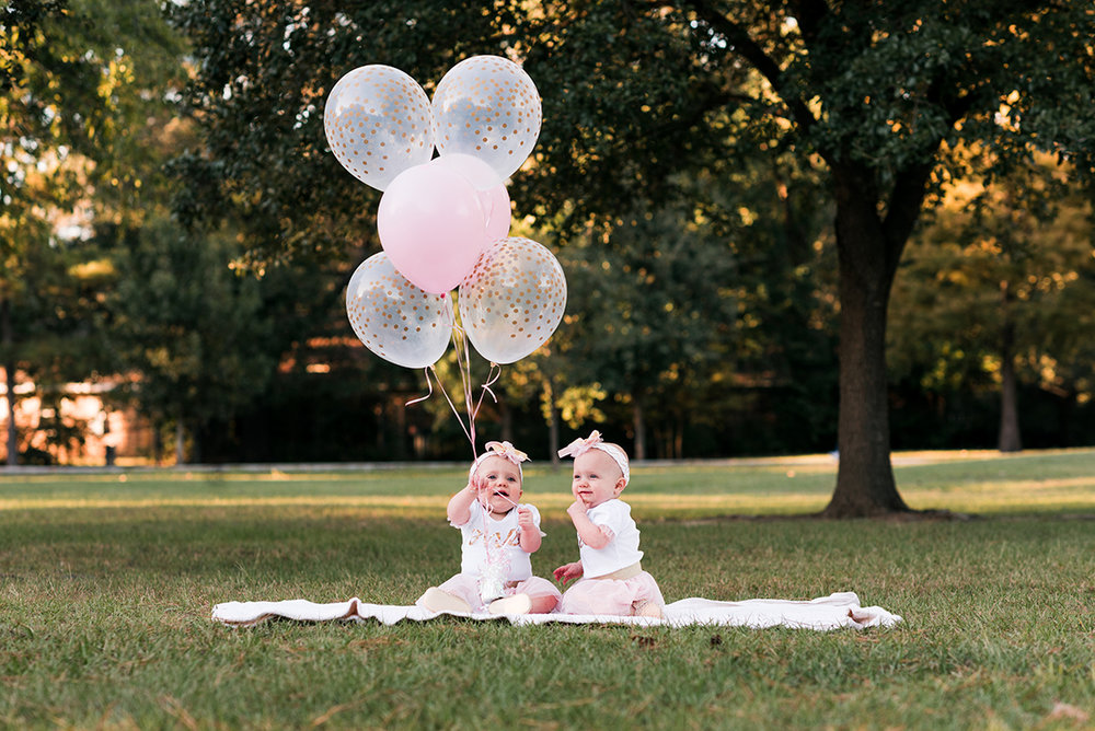 Pink balloons baby girl bennett brown photography Twins