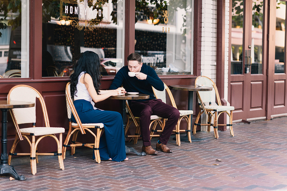 Cafe Cofee shop couple engagement shoot on location Houston texas