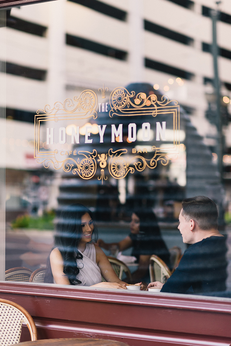 Bennett Brown Photography Houston Texas Engagement Bride Latte Coffee shop Wedding photography