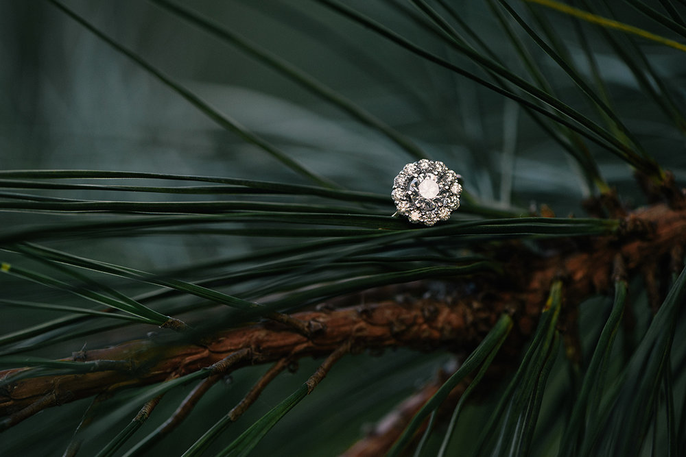 Engagement RIng Pine needles halo settings diamond ring