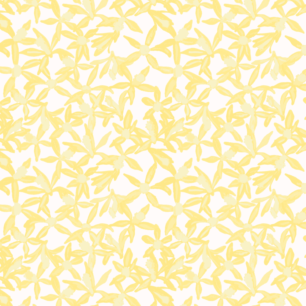"Repeat of ""Vanilla Floral"", gouache illustration, color separated and refined in NED Graphics"