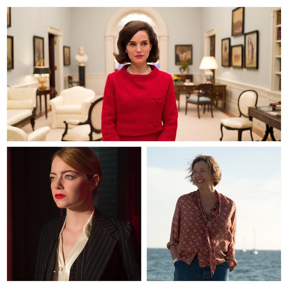 Natalie Portman,  Jackie ; Emma Stone,  La La Land ; Annette Bening,  20th Century Women