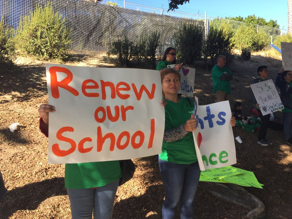 Parents rally to save their school outside the LAUSD Board meeting Nov. 7